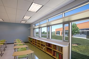 Interior of Colin Powell Middle School (Photo courtesy Legat Architects)
