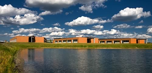 Colin Powell Middle School includes a pond-based geothermal system. (Photo courtesy Legat Architects)