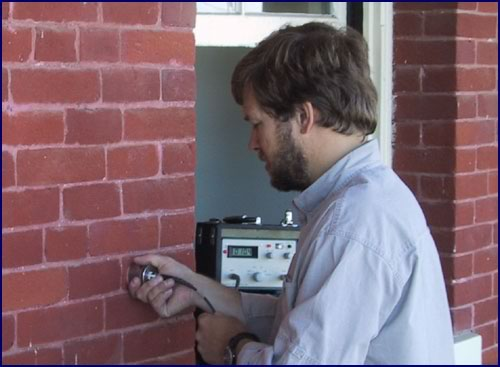Measurement of ultrasonic pulse velocity to evaluate wall solidity (The Presidio, San Francisco).