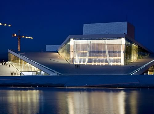 exterior night view of the marble clad Oslo Opera House