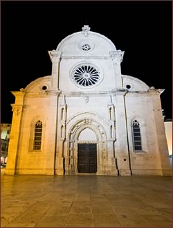 Frent of St. Jacob's Cathedral in Sibenik, Croatia