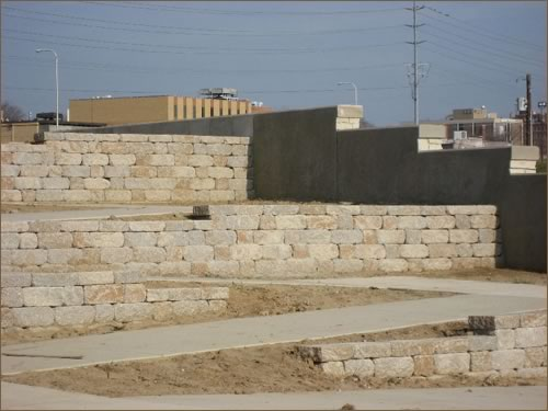 Retaining walls at the Alton Riverfront and Marina District.