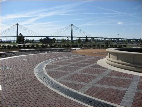 Plaza in front of the Amphitheater at the Alton Riverfront and Marina District project