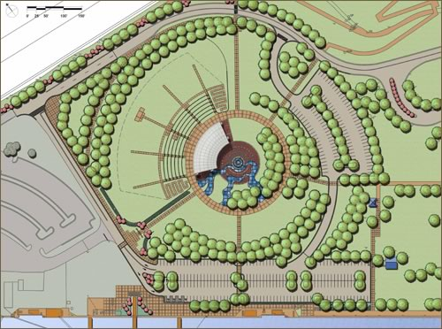 Aerial view design of the Alton Riverfront Amphitheater Project