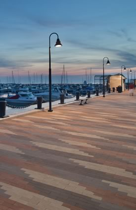 Oversize pavers from The Belden Brick Co. were chosen for the Lorain East Pier project, since they are both utilitarian, and in scale with the large size of the dike.