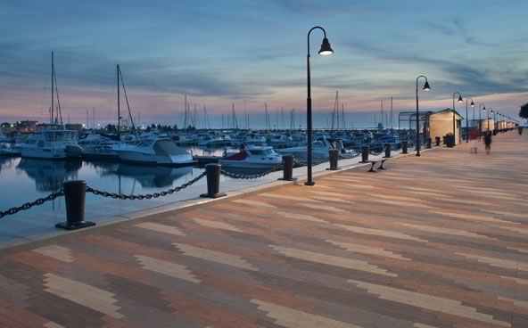 Sunset at the East Peir in Lorain: considerable thought was given to the size of the paver, its pattern, and its color range.