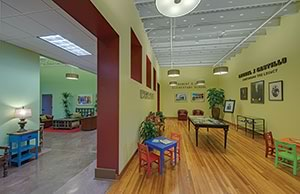 Interior of PGAL's Leonel J. Castillo Community Center restoration and repurposing project in Houston, Texas.