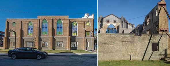 The majority of Houston's Bethel Baptist Church's back wall, damaged beyond repair, was removed. In its place is a steel and glass screen, enabling visitors to sit on the new pew-like benches inside the former sanctuary and enjoy open access/view to an adjacent garden area.