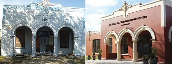 The Leonel J. Castillo Community Center restoration and repurposing project converted an important historic structure – a 1919 elementary school – into a much needed community center offering health, education and social programs for Houston's inner-city seniors, veterans and children.