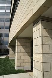 The new hospital features a stone veneer from Arriscraft.