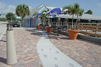 The City of Stuart, Fla., revitalized an important waterfront dining area using Designer Keith Pelan's choice of vibrant colors and paver fan patterns.