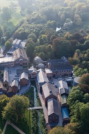 Aerial veiw of Bombay Sapphire Distillery in Laverstoke, Hampshire, UK.