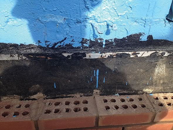 Materials must compatible asphalt-coated flashing solvent-based mastic against polymeric air barrier not good masonry