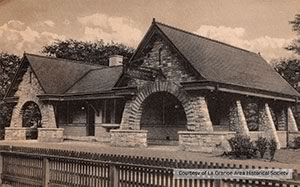 Early 20th century image train station restoration La Grange Stone Avenue Illinois
