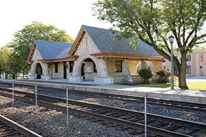 Masonry arches built-in seating restoration La Grange Stone Train Station Illinois