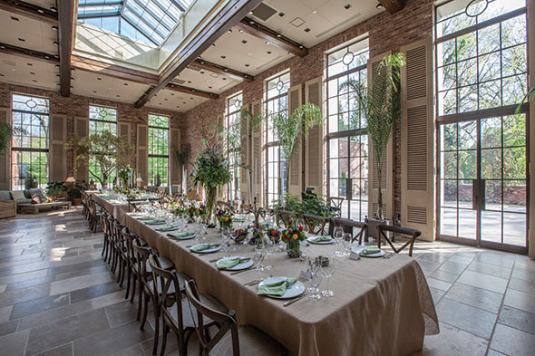 The Apiary Lexington Kentucky brick stone Orangerie dining room