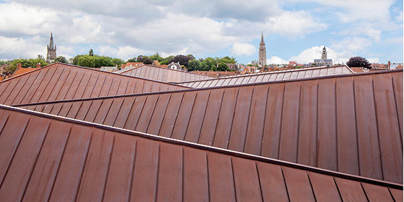 "copper ""wrinkled"" roof Rijksarchief Bruges Salens Architecten"