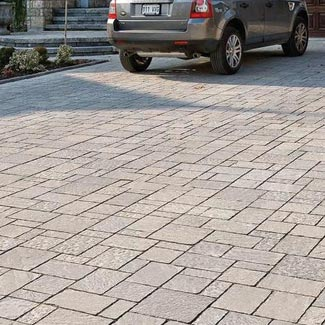 Techo-Bloc's Mista pavers can be used for pedestrian or light vehicular traffic , residential driveways , patios , and swimming pool decks.