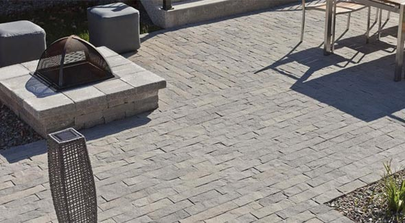 Rich texture give San Marino pavers from Techo-Bloc their old-world character and timeless appeal. Two available widths can be combined for a natura l, random pattern.