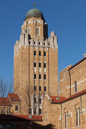bell tower Kenrick-Glennon Seminary masonry renovation project Shrewsbury