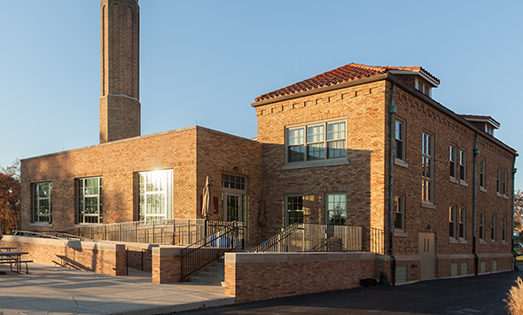 The original power plant was converted to a student lounge and rec center.