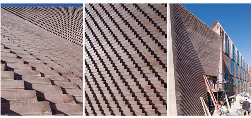 For Tozzer's entryway, KVA and MATx developed a dedicated software program to calculate the intricate geometries of the corbeled masonry wall. The size and placement of every brick—even the spacing of the mortar bonds—were digitally determined. Photos courtesy of Kennedy and Violich Architecture.