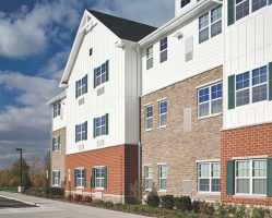 Echelon Masonry's Lamina Stone was used for a medical facility interior and exterior front façade, with design flexibility due to multiple shapes and sizes—textured ends mean no need for corner pieces.