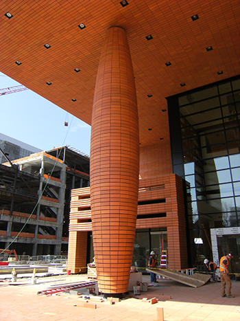 Terra Cotta rainscreen veneer on a support column creates a unique appearance and texture, and shows the veneer's versatility.