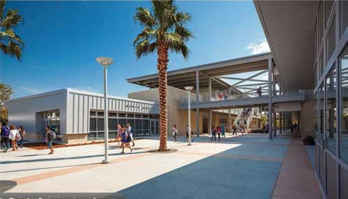 Montgomery Middle School makes use of glacier white and burnished warm gray concrete masonry units (CMUs)