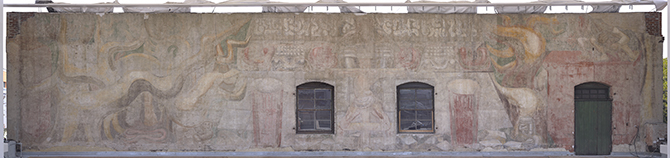 Close up of the restored Siqueiros mural at the Italian American Museum of Los Angeles. Photo: The Getty Conservation Institute