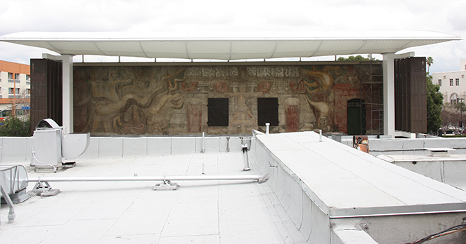 Close up of restored Siqueiros mural. Photo: Michael Ty Billings, Thornton Tomasetti, Inc.