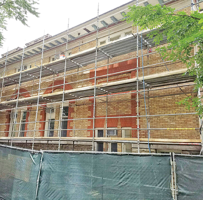 During the restoration phase, the building was kept occupied and functional. Many of the more intrusive repairs were made during off hours and on weekends.