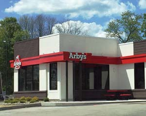 NewBrick installation at this recent Arby's Restaurant renovation in New York. The white brick was manufactured in this color, eliminating the need for onsite painting.
