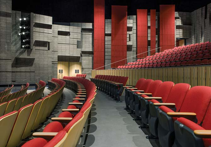 The 462-seat Mesa Community College Performing Arts Center serves as the face of the school's music and theater programs, with masonry inside and out for beauty and enhanced acoustics.