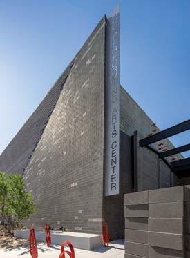 Designed by Jones Studio of Phoenix, the MCC Performing Arts features an exterior shell consisting of exposed masonry and raked, unpainted cement stucco over metal stud framing.