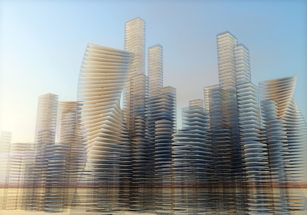 A city skyline created using Marionette, Vectorworks software's integrated graphical scripting tool. Courtesy of Vectorworks, Inc.