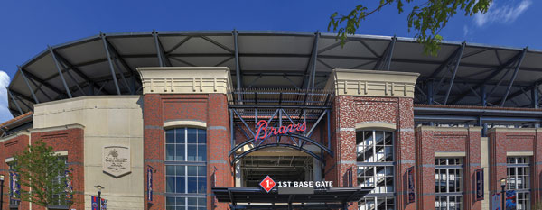 Brick walls flank the first base entrance of SunTrust Park, shown in this photo after completion of construction. Photo by Ryan Linton.