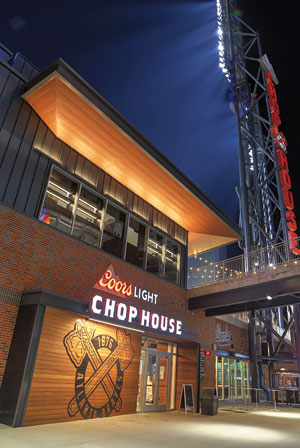 These include the three-level Chop House, a restaurant that includes two large patios overlooking right field