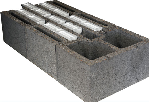 Comfort Block, the first self-contained, insulated building block in the United States.