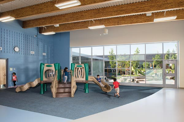 Motor skills spaces like that at the CCSD59 ELC offer natural light and views. Photo © AJ Brown Imaging