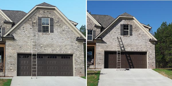These images show progress made by Stain Gang in staining darker bricks above the garage to match the brick below.