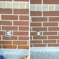 THE COLOR CONSISTENCY OF A BRICK BUILDING OR WALL is sometimes achieved by masonry staining.
