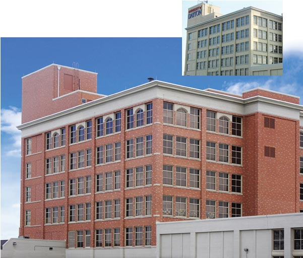 The external appearance of the University of Dayton underwent a complete transformation via masonry staining. Inset: before. Main image: after.