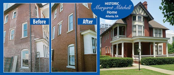 With masonry staining, the historic Margaret Mitchell House in Atlanta, Ga., was restored to its appearance when Ms. Mitchell lived there.