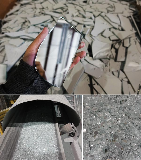 Post-consumer mirror glass goes through a crushing machine and ends up as beautiful material for terrazzo.