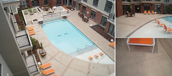 Apartment complex's pool deck is slip-resistant and sustainable